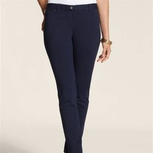 So Slimming Chico's Ponte Zip 5-Pocket Pants Navy